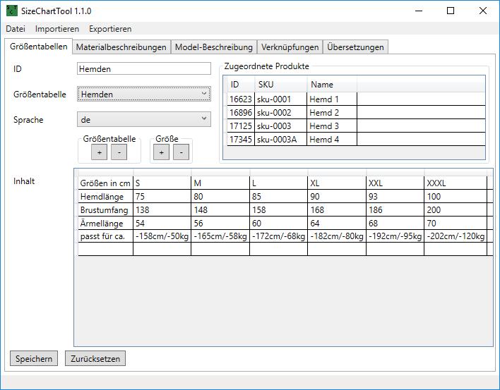 Metadatenverwaltung zu Produkten im Webshop