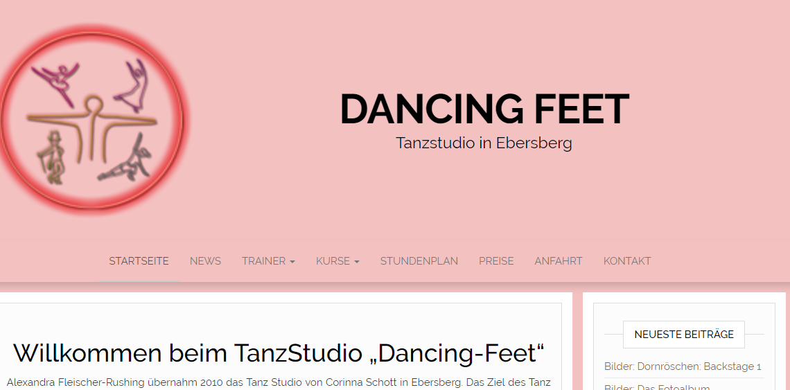 Webseite für Dancing-Feet.de – Tanzschule in Ebersberg